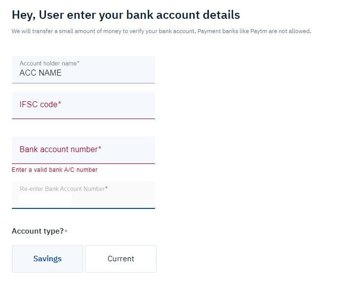 Upstox bank details